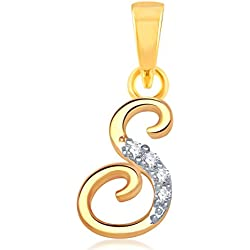 "Alphabet Collection Initial Letter ""S""Gold and Rhodium Plated Alloy Pendant for Men & Women made with Cubic Zirconia - P1112G [VKP1112G]"