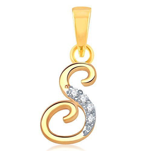 """VK Jewels Alphabet Collection Initial Letter """"S"""" Gold and Rhodium Plated Pendant for Women - P1112G [VKP1112G]"""