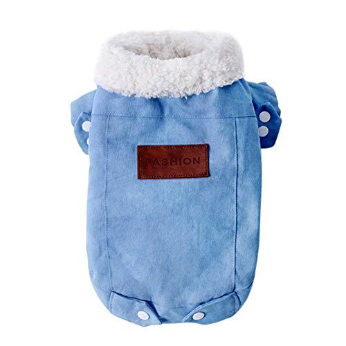 Etophigh Pet Denim Jacke Hunde Cowboy Winterkleidung Double Layer Verdickung Warme Jeanshosen Jeans 2 Legged Jacke