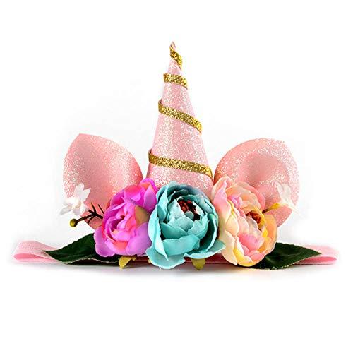Ailin Online Mädchen Einhorn Horn Stirnband mit Blumen, Haarreifen Cosplay Kostüm für Kinder Regenbogen Geburtstag Party Gastgeschenke (Halloween Spiele Online Für Erwachsene)