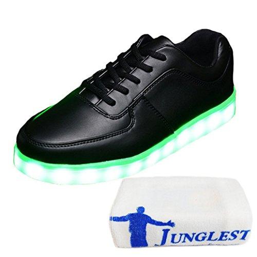 (Present:kleines Handtuch)JUNGLEST 7 Farbe LED Leuchtend Sport Schuhe Sneaker USB Aufladen Turnschuhe für Unisex Herren Dame Schwarz