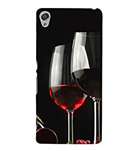 Fuson Designer Back Case Cover for Sony Xperia XA :: Sony Xperia XA Dual (Wine red Wine Glass Wine Bottle red)
