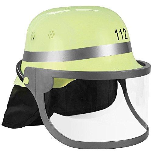 Trendario Feuerwehrhelm Für Kinder und Erwachsene, verstellbar mit Klappvisier & Nackentuch - Deutsche Ausführung in Gelb - ideal für Karneval & Mottopartys (Hüte Feuerwehrmann)