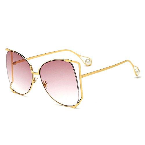 Aoligei Sonnenbrille Damen Mode Sonnenbrillen europäischen und amerikanischen großen Rahmen Perle Trend Brillen