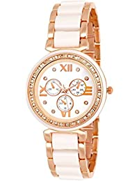 Tutile Stylish Dial Analogue Exclusive New Arrival White And Gold Wrist Watches For Girls And Women.