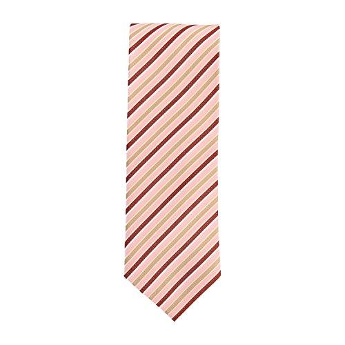 Silk classico cravatta seta rosa marrone oro strisce 8 (Oro A Strisce Cravatta)