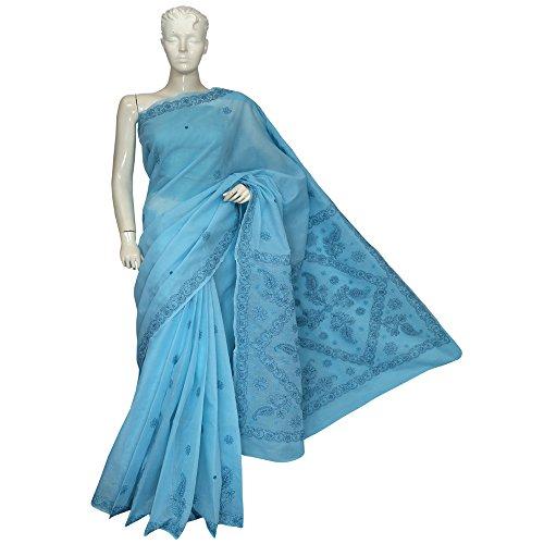 ADA Women's Cotton Hand Embroidered Chikankari Saree (Blue) A121704