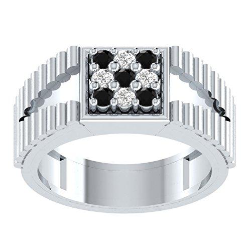 0,22Karat Brilliant Rund Brillantschliff schwarz Diamant Verlobungsring Hochzeit Band Ring in 925Sterling Silber