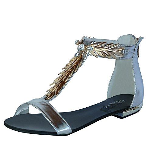 Damen Sandalen Sandaletten CL6 Spikes Glitzer Nieten Silber