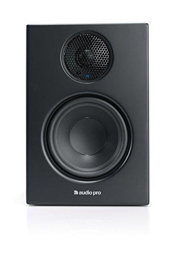 Audio Pro Addon T14 Aktiver Regallautsprecher mit Bluetooth (1 Paar mit Aluminium-Fernbedienung, 2 x 50W) Schwarz