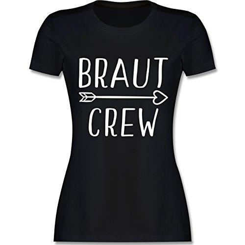 JGA Junggesellinnenabschied - Braut Crew Pfeile - M - Schwarz - L191 - Damen T-Shirt Rundhals
