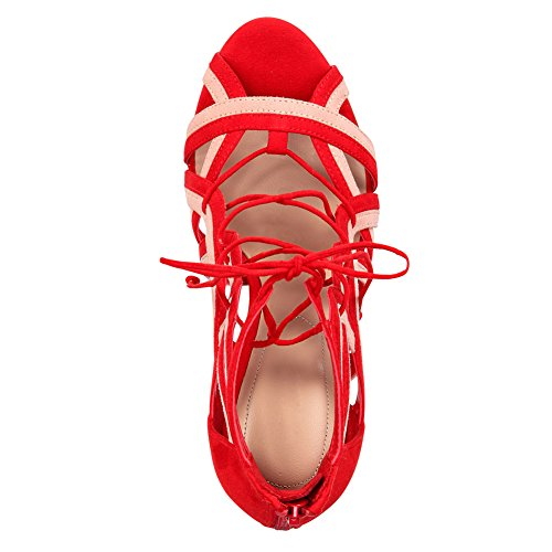 Onlymaker Damen Open Toe Römersandalen High-Heels Stiletto Gladiator Schuhe Rot