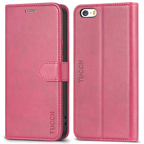 iPhone SE Hülle iPhone 5 Hülle iPhone 5s Hülle, TUCCH Handyhülle iPhone SE / 5s / 5 Schutzhülle [Lebenslange Garantie] mit TPU-Innenschale [Aufstellfunktion] [Kartenfach] [Magnetverschluss], Pink
