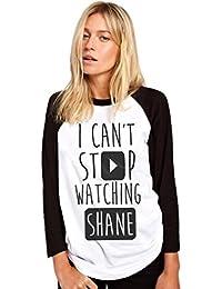 HotScamp Stop Watching Shane - Vlogger Star - Womens Baseball Top