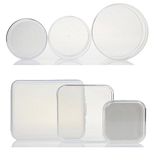 3PCS (S + M + L) transparent klar Aufbewahrungsbox Collection Container Fall mit separatem Deckel Rund Red Square Pot