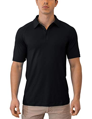 WoolX Summit - Men's Merino Wool Polo Shirt - Short Sleeve - Lightweight - Breathable - Black - MED -