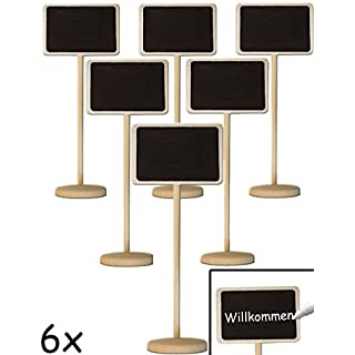 HOMETOOLS.EU® - 6x Klassische Tisch Tafel Holz Memo mit Stand-Fuß beschreibbar | für Buffet, Party, Feier, Hochzeit, Deko | Vintage Landhaus, 6er Set