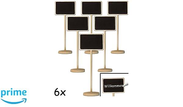 Lot de 6 HomeTools.eu Lot de 6 Tableaux de Table Classiques en Bois avec Pied inscriptible Mariage d/écoration de la Maison de Campagne Buffet f/ête Classic f/ête