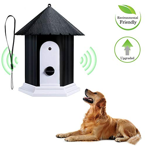 Jamisonme Training Pet Dog Ultrasonic Anti Barking Stop Bark Birdhouse Shape Outdoor Waterproof Dogs Training Repeller Control Tool Device (Black)