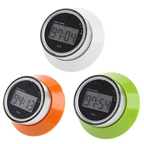 Digitaler Küchentimer mit LCD-Display, tragbar, rund, magnetisch grün