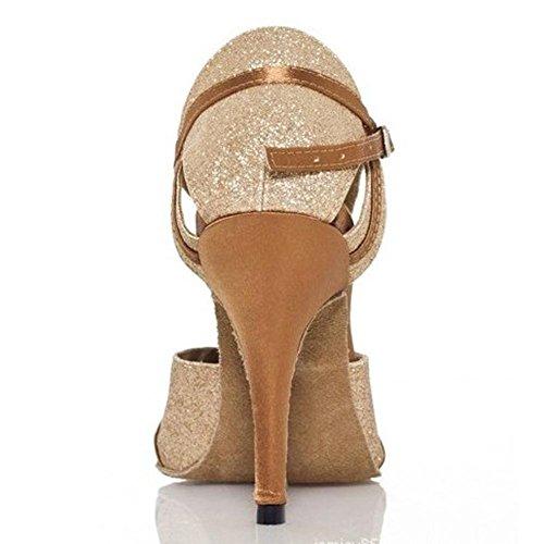 scarpe da donna sandali da ballo latino cuoio salsa samba tango ballroom aperto punto soft soles buckle gold tacchi alti A