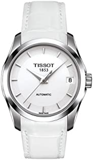 Tissot Women's Couturier Auto's White Dial Color Leather Strap Watch - T035.207.1