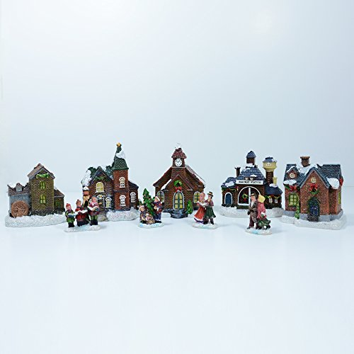 Weihnachts-Dorf mit Beleuchtung, 9-teilig
