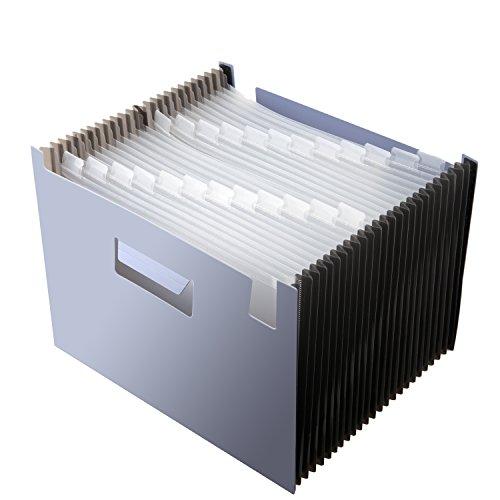 Fächermappe Ordner 24Taschen, erweiterbar Akkordeon Datei Organizer, tragbare Datei Ordner Box, groß Kapazität, Kunststoff Stand Bag transparent Custom Etiketten für Büro 13L*9.1H hellblau - Ausbau Kunststoff-datei-ordner