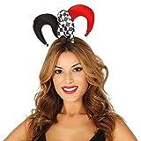 NET TOYS Mini Gorro de bufón para Mujer | Negro-Blanco-Rojo | Extraordinario Gorro para Dama Pierrot Festival y Carnaval