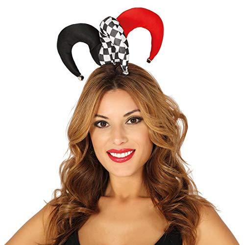 Amakando Kleiner Harlekin-Hut für Erwachsene / Schwarz-Weiß-Rot / Kostüm-Accessoire Hof-Narr / Wie geschaffen zu Straßenkarneval & ()