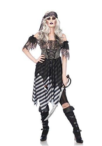 eilig Set Geisterpirat, Damen Karneval Kostüm Fasching, S/M, grau/schwarz (Zerfetzte Kleid Kostüm)