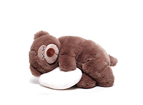 Preisvergleich Produktbild Inware 6484 - Schlafender Bär mit Kissen, Kuscheltier…