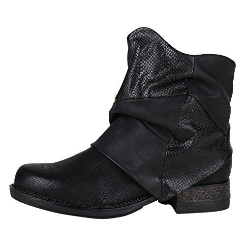 Damen Biker Boots Stiefeletten Prints Profil Sohle Block Absatz Damen STIEFELETTEN Schwarz Nero 38
