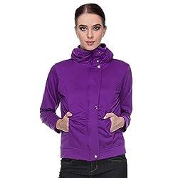 TeeMoods Womens Fleeece Full Sleeves Solid Purple Sweatshirt/Hoodie