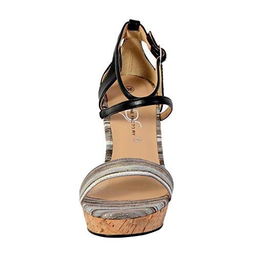 Sandale Compensée The Divine Factory TDF2918 Noir Noir