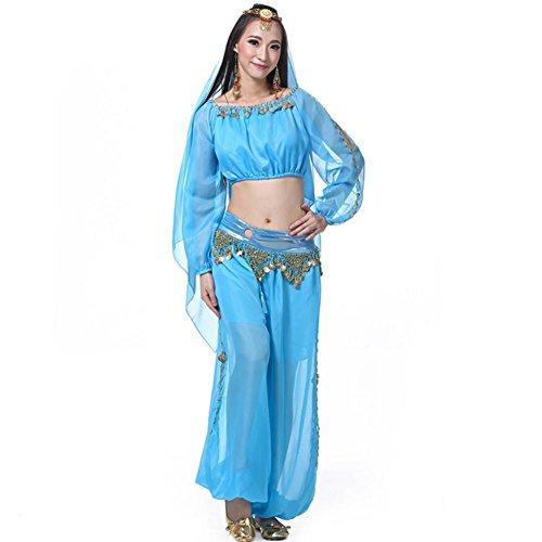 ti-Color-Laterne-Shorts Lange Ärmel Ring-Garn Bauchtanz Indien Performance Kit . Blue . 4 (Grüne Laterne Kostüm Für Verkauf)