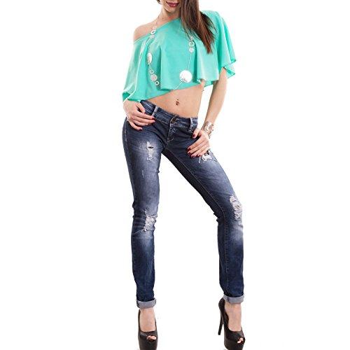 Toocool - Top donna corto maglia ampio maniche pipistrello maglietta sexy nuovo CC-1413 Verde Acqua