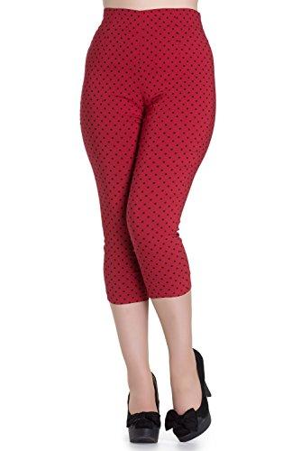 Pantalones piratas de Hell Bunny Rojo Kay Lunares de estilo Vintage de los 50s - (2XL - ES 46)