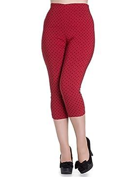 Pantalones piratas de Hell Bunny Rojo Kay Lunares de estilo Vintage de los 50s