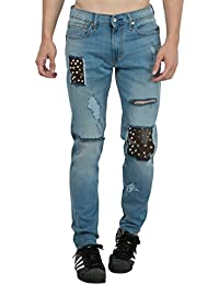 Estrolo Leather Patched Studded And Ripped Men's Jeans