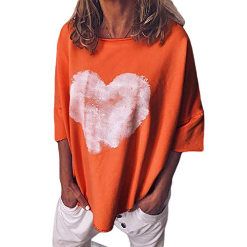 Tiered Tunic Top (CuteRose Women O-Neck Casual Hearts Printed Pure Color Short Sleeves Tops Orange S)
