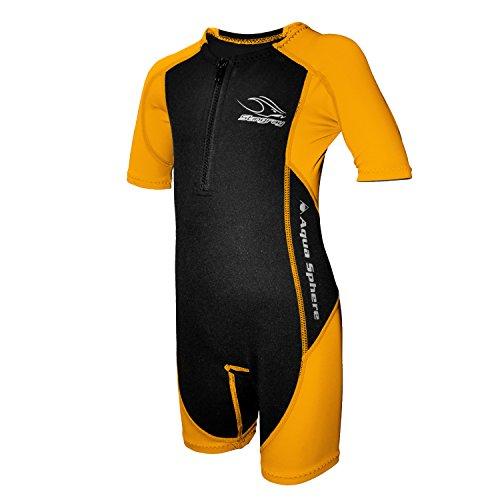 Aqua Sphere Stingray Schwimmanzug Neopren für Kinder  schwarz/orange, XS-92-2 Jahre