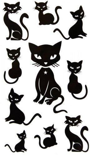 Wasserdichte schwarze Tier Tattoo-Aufkleber sexy niedliche Kätzchen (Niedliche Auch Kätzchen)