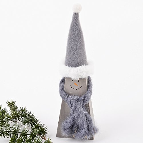 Schneemann Winter Design Deko Figur Holz 21x6x4cm grau natur Weihnachten