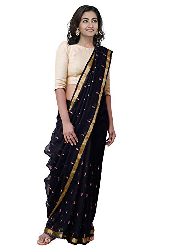 Unnati Silks Women Pure Kota Cotton Saree with blouse piece from the Weavers of Rajasthan (UNM29423+Black+Free size)