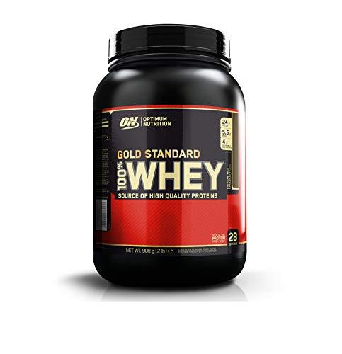 Optimum Nutrition Gold Standard Whey Protein Pulver (mit Glutamin und Aminosäuren. Eiweisspulver von ON) Extreme Milk Chocolate, 28 Portionen, 0,9kg - 100% Whey Protein Erdbeere