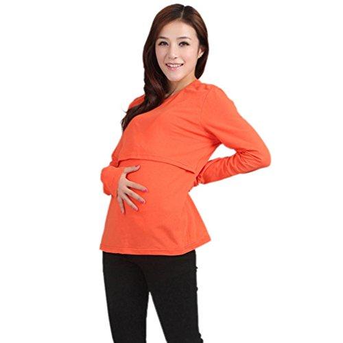Femmes manches longues, FEITONG Enceinte Vetements de maternite Tops de soins infirmiers Allaitement maternel T-shirt à manches longues Orange