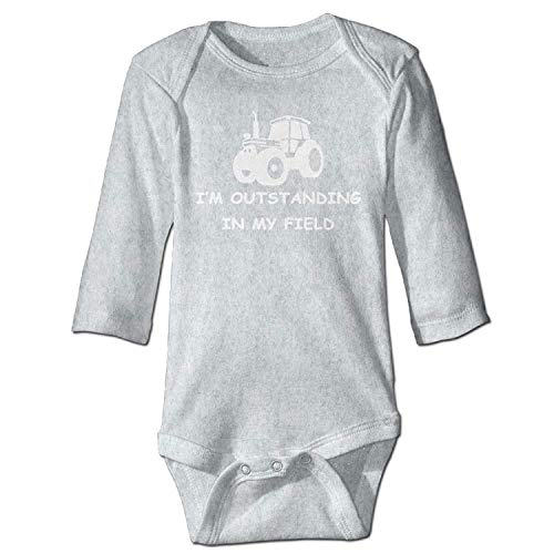 MSGDF Unisex Toddler Bodysuits I'm Outstanding In My Field Girls Babysuit Long Sleeve Jumpsuit Sunsuit Outfit Ash