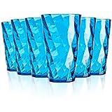 Omada Diamant Gläser / 500 ml / Bruchsichere Gläser / Hergestellt aus Acryl / Wasser, Rote Weingläser / Ideal für Tee, Kafee, Whiskey und Milch / 6-teiliges Set / Türkis