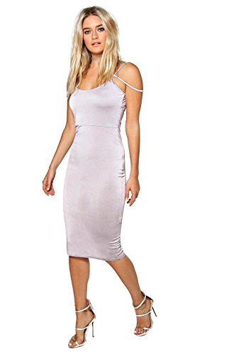 Gris Femmes Sally Slinky Ouvrir épaule Midi Dress Gris
